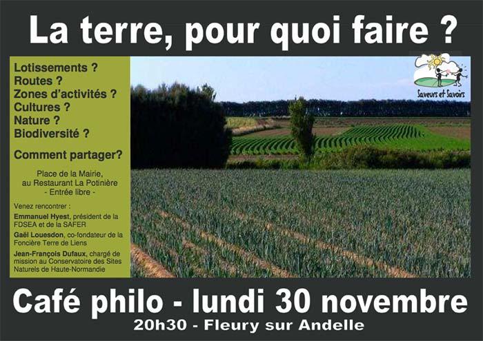Café philo le 30 novembre à Fleury sur Andelle