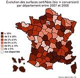 Evolution des surfaces certifiées bio par département entre 2007 et 2008