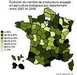 Evolution du nombre de producteurs engagés en agriculture bio par département, entre 2007 et 2008
