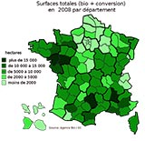 Surfaces totales par département en 2008