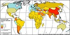 évolution des émissions de CO2 en %, de 2005 à 2007. source :  Ecole normale supérieure, Département de Géographie. Claude Kergomard