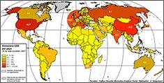 carte des émissions de CO2 par pays, en %. source :  Ecole normale supérieure, Département de Géographie. Claude Kergomard