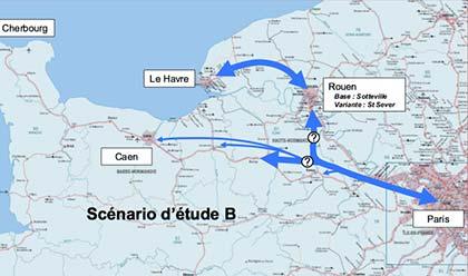 Le scénario sud : la fourche du Y se situe au nord d'Evreux. Une option permettrai de relier Rouen et Evreux. Ce scénario est peu convaincant pour les bas-normands.