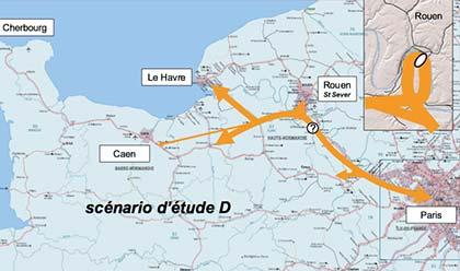 Le scénario havrais : demi-tour à Rouen et poursuite sur la rive gauche, avant de franchir la Seine sous l'estuaire, pour rejoindre Le Havre.