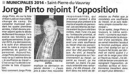 Paru dans la dépêche : Jorge Pinto lance une alerte sur la gestion du personnel à la mairie de Saint-Pierre du Vauvray.