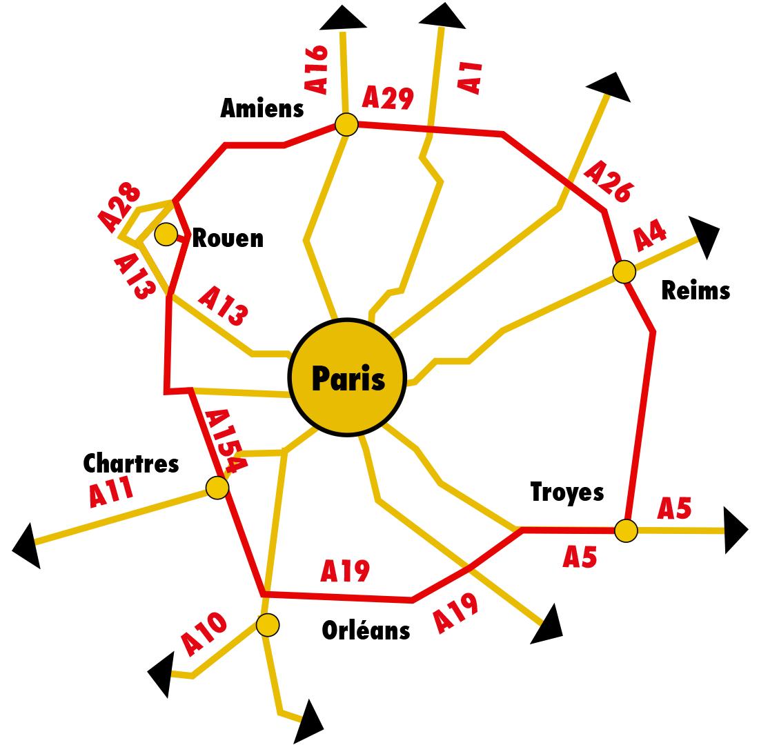 Le contournement de Paris sur un schéma de la DATAR dans les années soixante