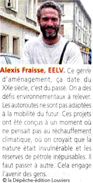 Alexis Fraisse, EELV, dans la Dépêche du 26 mai 2017