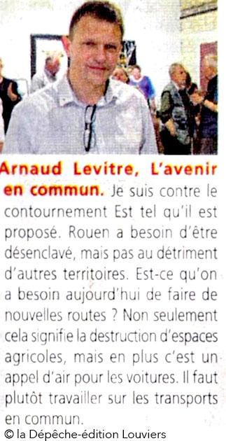 Arnaud Levitre, France insoumise, dans la Dépêche du 26 mai 2017